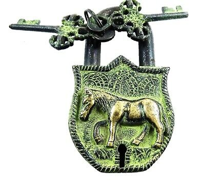 Horse Shape Vintage Antique Style Handmade Brass Door Padlock with keys Gift