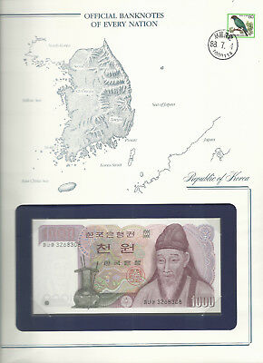 Banknotes of Every Nation Korea 1000 Won UNC 1983 P 47