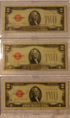 Lot Of (3) 1928-G $2 TWO DOLLAR RED SEAL BILLS IN 2 Piece Currency Slabs