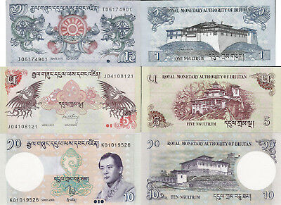 Bhutan set 3 pcs 1+5+10 Ngultrum - Pick 27-29 UNC random years