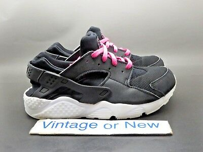fa8b85e18026 Girls Nike Air Huarache Run Black Pink Blast GS Preschool 704951-007 sz 2Y