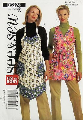 UC 2008 See & Sew EASY 2 Styles FULL APRON'S Pattern 5274~Sizes S-M-L~B31.5-40""