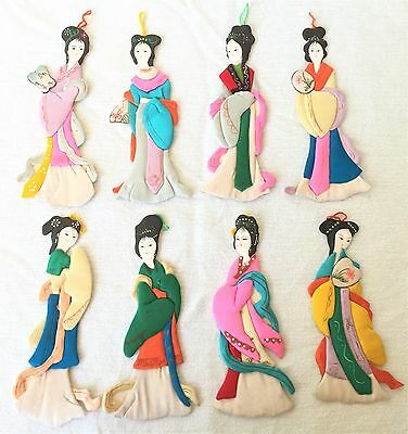 """Vintage Chinese 6"""" Paper Cloth Doll Kimono People's Republic of China Set of 8"""