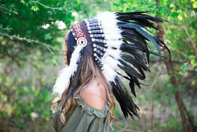 Native American J26 Real Feather Light Blue Chief Indian Headdress Replica 75cm