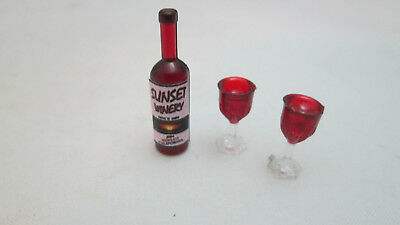 Dollhouse Miniature 1:12 Bottle of Sunset Merlot Red Wine  With Filled Glasses