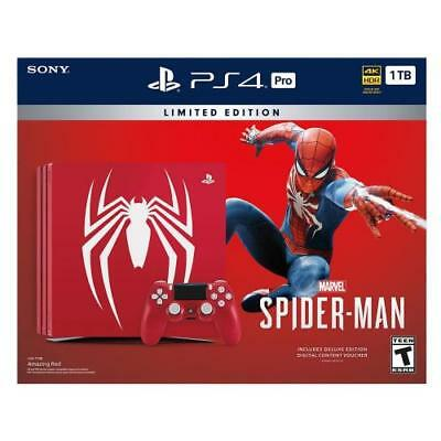 PlayStation 4 Pro 1TB Limited Edition Marvel s Spider-Man Console Bundle  -  Inc