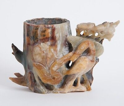 Old Chinese Jade Brush Holder, Brush Pot, Hand Carved with Birds, Pencil Holder