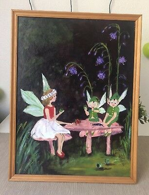 "vintage oil Painting ""Gumnut Tea Party"" In Old Wood Frame Framed 43cmTall"