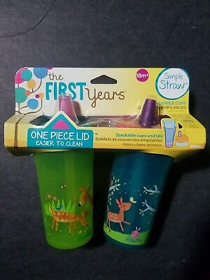 The First Years 18m+ Nature Forrest 9 Oz. Sippy Cup 2 Pk Simple Straw NEW