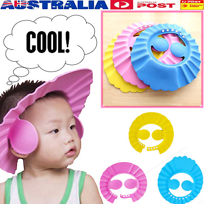 Adjustable Baby Kid Shampoo Shower Bath Cap Waterproof Hat With Ears Shield New