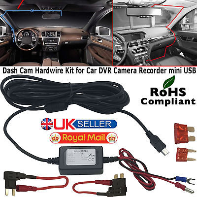 Hard Wire Car Mini USB DC Charger Power Kit For in Car Dash Camera DVR Recorder