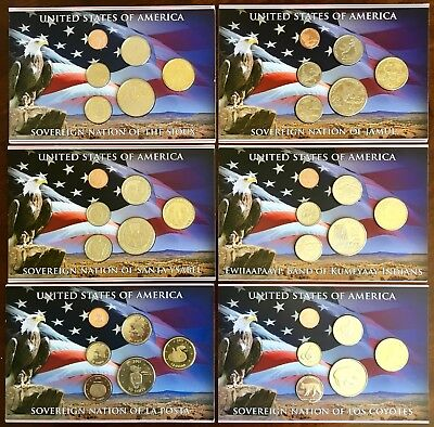 United States Of America, Sovereign Nations Coin Sets. Six Presentation Packs.