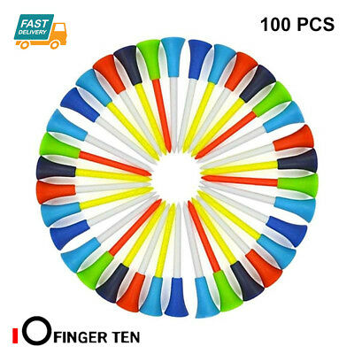 Plastic Golf Tees 100 Pcs High Quality Multi Color 83mm With Rubber Cushion Top