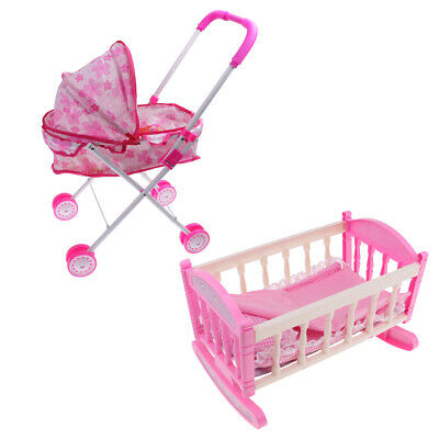 Girl Doll & Stroller Pram and Bed Cradle Toy Foldable Pushchair Kids Toys