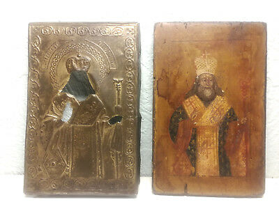 ANTIQUE 19th  RUSSIAN ORTHODOX  PAINTED ICON OKLAD