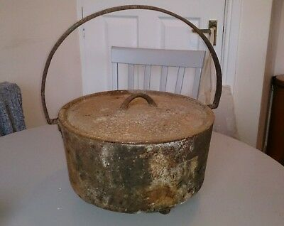 Heavy Vintage CAST IRON COOKING POT,  gypsy style, gardening,  planter