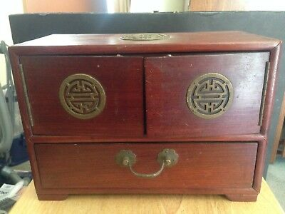 VERY RARE CATHAY PACIFIC AIRLINES 1940/50s COMPLIMENTARY MAHOGANY JEWELRY  BOX