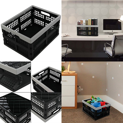 16 Liter Folding Crates Storage Collapsible Container Plastic Set Of 3