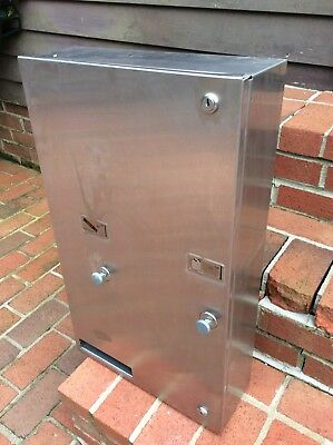 Vintage Double 25 Cent Stainless Steel Tampon Machine - NO KEY - Very Good