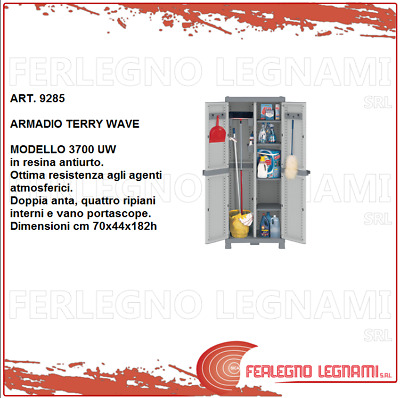 Armadio In Resina Domino Wave.Armadio In Resina Terry Wave 3700 Uw 70x44x182h Con 4