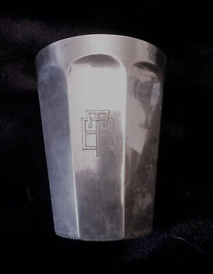 Vintage silver French Art Deco octagonal beaker vodka cup with monogram c1930