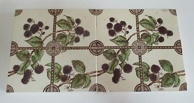 Pair of Matching Antique Glazed Ceramic Feature Wall Tiles - Blackberries Design