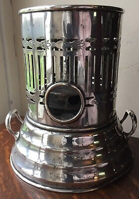 """a large silver plated paraffin/oil stove/lamp 9"""" tall"""