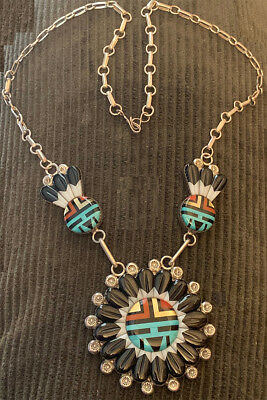 Best! Zuni Andrew Dewa Sun Face Necklace Mosaic Inlay Carved Stones Masterpiece