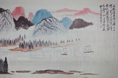 "Beautiful Long Old Chinese Scroll Hand Painting Landscape ""ZhangDaQian"" Mark"