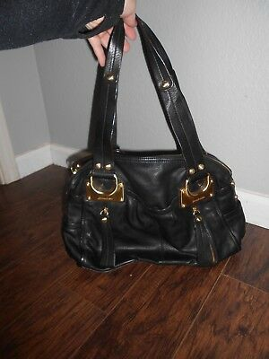 B Makowsky Large Black Leather Gold Hardware Satchel Handbag Purse