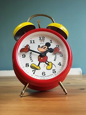 Vintage Mickey Mouse Metal Twin Bell Alarm Clock Bradley German Moving Arms