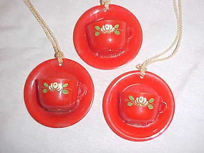 3 Vintage Red Plastic Cup & Saucer Window Shade/Light Pulls w/Cord Roses on Cups