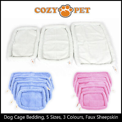 Cozy Pet Dog Cage Bed Luxury Faux Sheepskin Crate Bedding Cream Pink Blue 5 Size