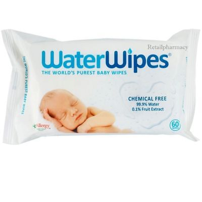 "WaterWipes Natural Baby Nappy For Sensitive Skin""Chemical Free"" Pack 2 3 4 6 12"