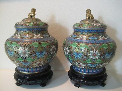 Stunning Pair of Antique 1920's-30's Chinese Champleve Cloisonne Jars