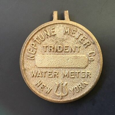 Vintage Neptune Trident Brass Meter Company lid