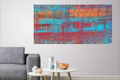 Original Abstract Stretched Enamel Painting Signed by Artist Canvas Wall Art