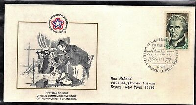 Andorra (Fr) 1976 First Day Cover - American Bicentennial - Thomas Jefferson