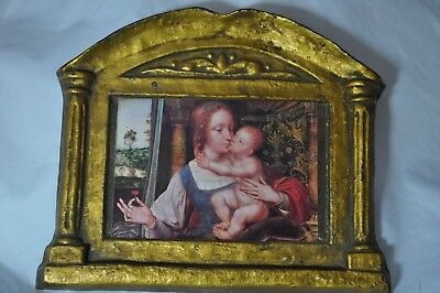 """Vintage  MADONNA OF THE CHERRIES WALL PLAQUES CHALK/PLASTER 8"""" BY 6 1/2"""""""