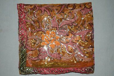 Rare Rose Dgn Indian Wedding Dupatta Scarf Sequins Embroidery Net Fabric Veil