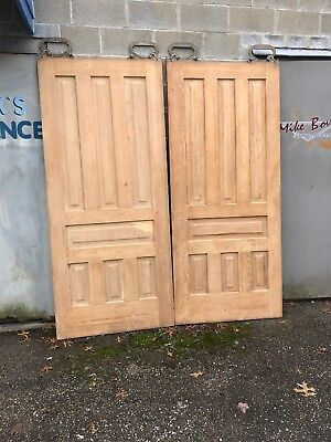 Mar 260 Matched Pair Antique Pine Pocket Doors Stripped 73.25 X 83.5 X1 3/8