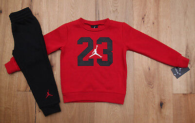 Air Jordan Toddler Boy 2 Piece Jogging Set ~ Sweatsuit ~ Red, Black & White ~