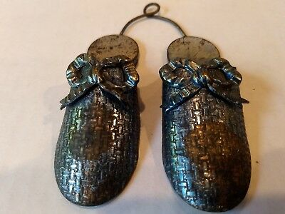 Vintage Blue Double Ladies Shoes Slippers Wall Mount Match Holder with Bows