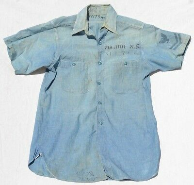 Vintage Us Navy Denim Jeans Stencil Usn Shirt & Patch Rate Usn Used Conditions