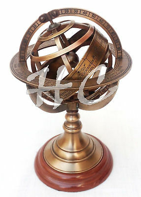 "8"" Antique Style Brass Armillary Sphere Astrolabe Nautical Marine Tabletop Globe"