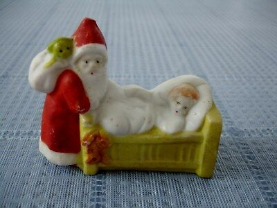 Antique/vintage  All Bisque Santa Claus With Child In Bed Snow Baby Christmas