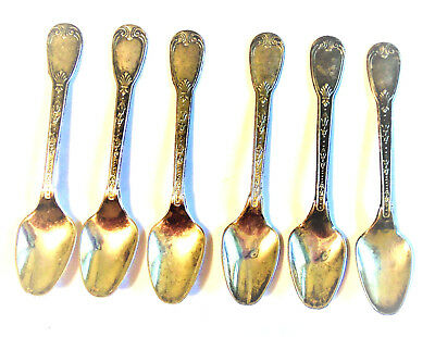 Six 800 Silver Demitasse Spoons Unknown Maker