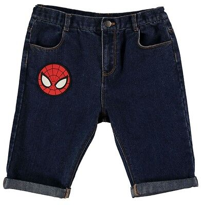 Spider-Man Boys Branded Zip Fly  Denim Shorts Pants Bottoms Size 7-8 Years