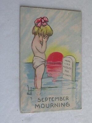F533 Postcard September Mourning Mourn Here lies august cartoon child