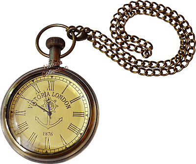 Vintage Victoria London Antique Brass Pocket Watch Collectible & Nautical Clock